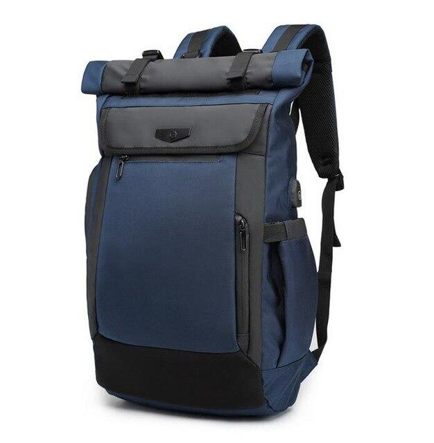 topman topgoldman boss genuine leather bag backpack for men-Blue-