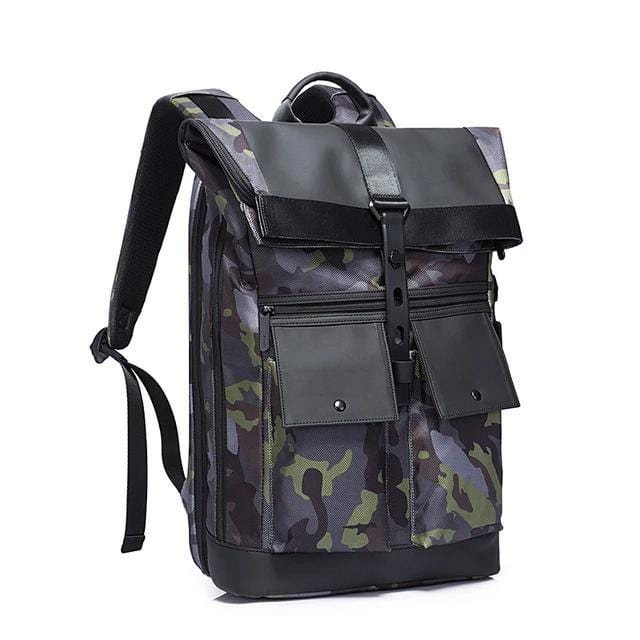 topman topgoldman boss genuine leather bag backpack for men-camouflage green-