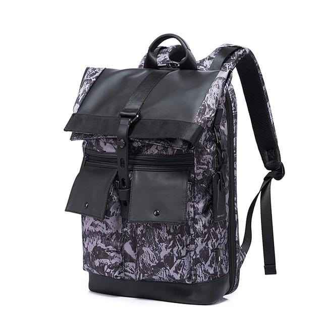 topman topgoldman boss genuine leather bag backpack for men-camouflage grey-