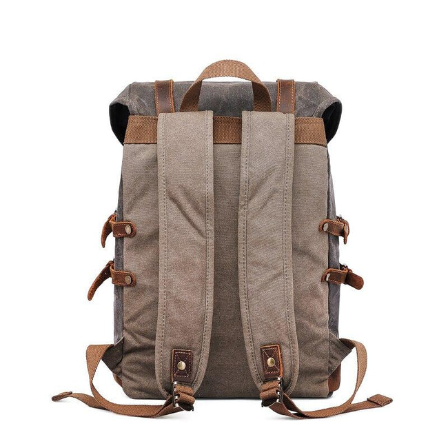 top goldman Torcello Canvas Leather Waterproof Backpack army green