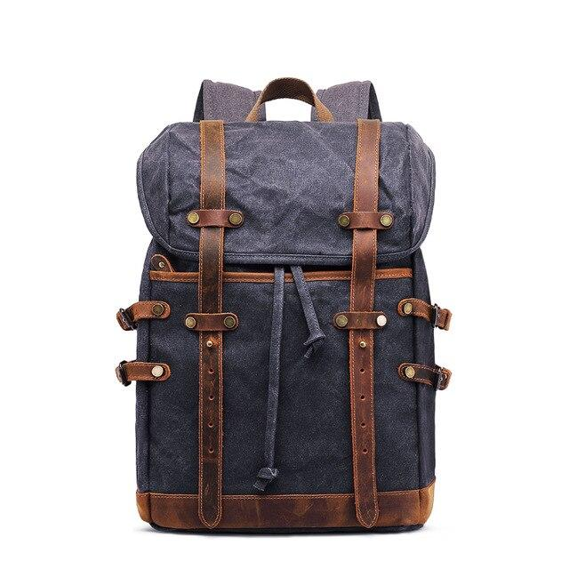 top goldman Torcello Canvas Leather Waterproof Backpack gray