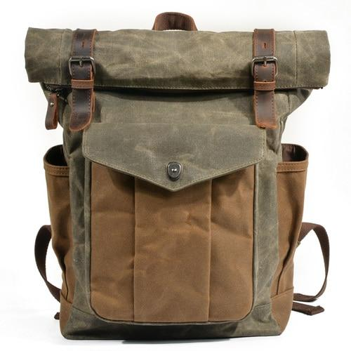 top goldman Trento Canvas Leather Waterproof Travel Backpack Army Green