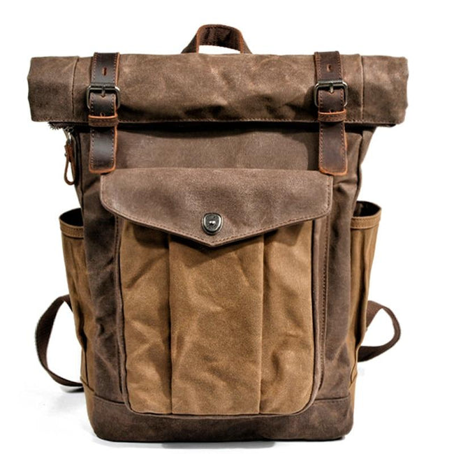 top goldman Trento Canvas Leather Waterproof Travel Backpack Dark brown