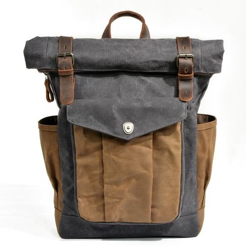 top goldman Trento Canvas Leather Waterproof Travel Backpack Dark Grey