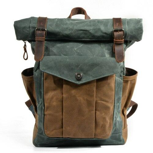 top goldman Trento Canvas Leather Waterproof Travel Backpack Green lake