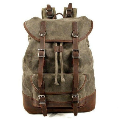 top goldman Tuscania Canvas Waterproof Leather Backpack Army Green