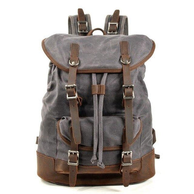 top goldman Tuscania Canvas Waterproof Leather Backpack Dark Grey
