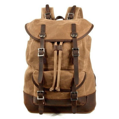 top goldman Tuscania Canvas Waterproof Leather Backpack Khaki