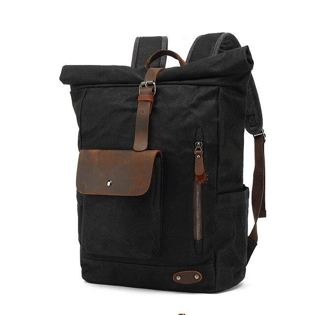 top goldman Varallo Canvas Travel Backpack black