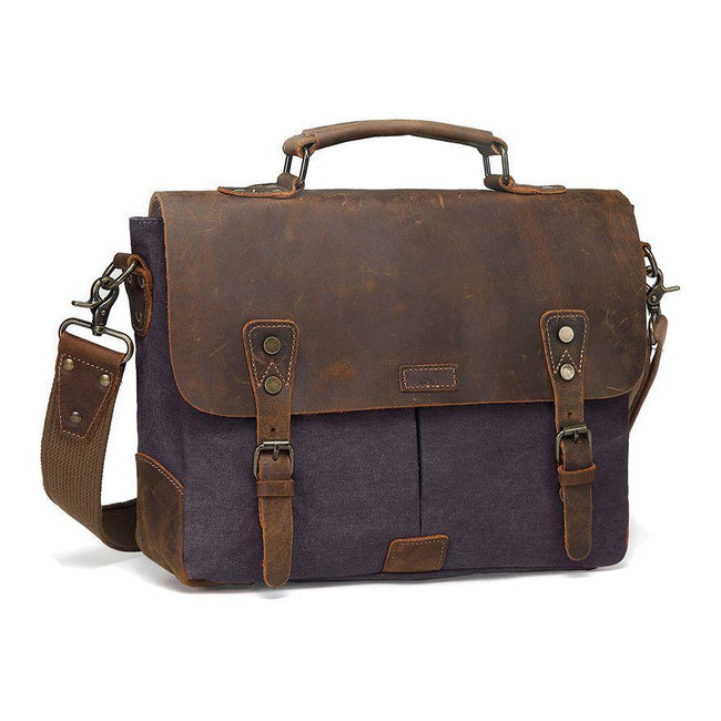 Venezia Canvas Leather Messenger Bag