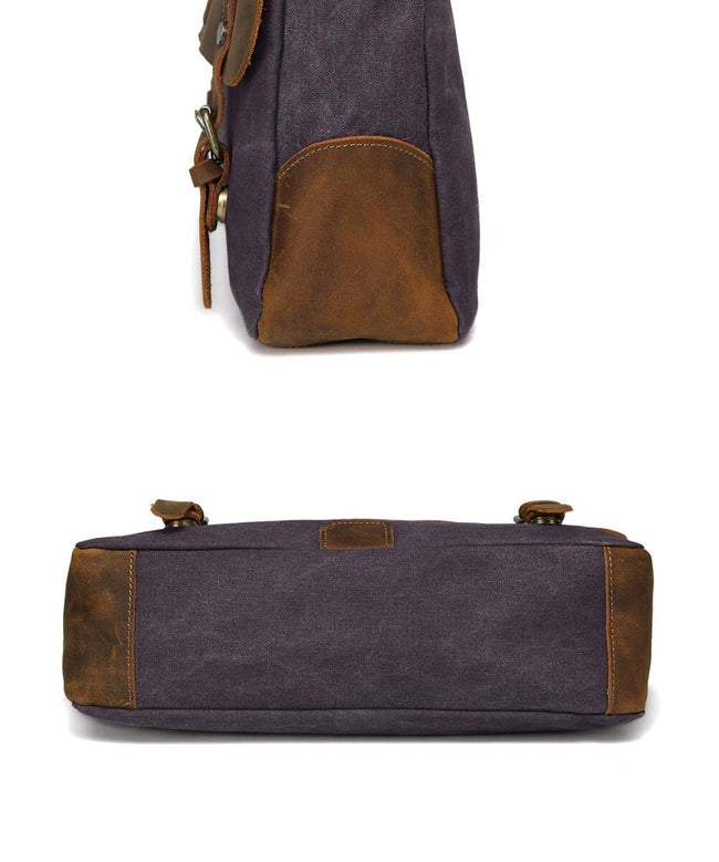 top goldman Venezia Canvas Leather Messenger Bag Blue