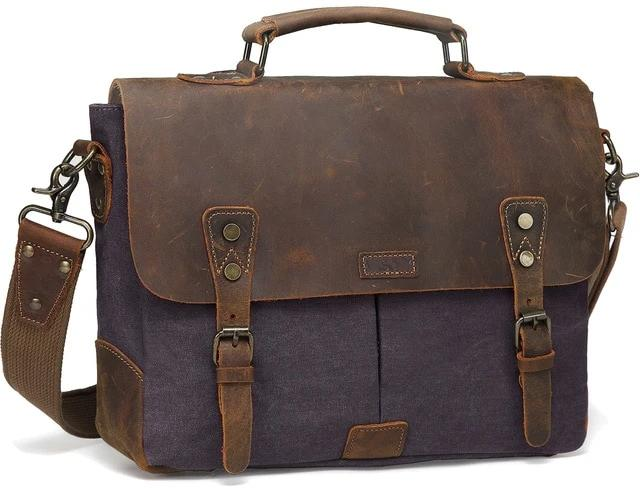top goldman Venezia Canvas Leather Messenger Bag Gray