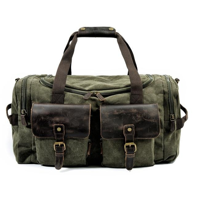 top goldman Verona Canvas Leather Messenger Bag Army Green