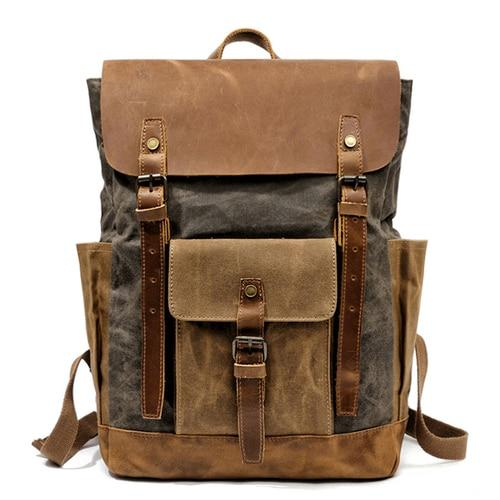 top goldman Volterra Canvas Leather Waterproof Travel Backpack Army Green