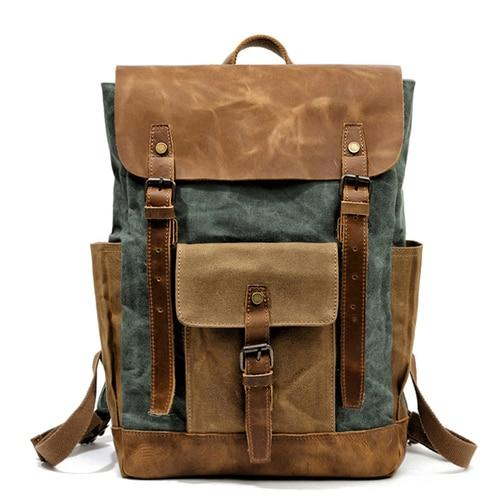 top goldman Volterra Canvas Leather Waterproof Travel Backpack Lake green