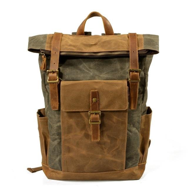 top goldman Volterra Canvas Waterproof Travel Backpack Army green