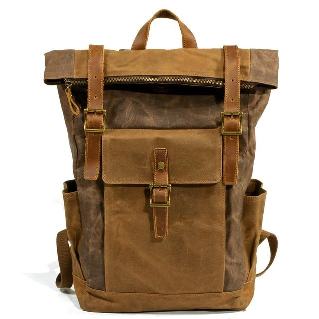 top goldman Volterra Canvas Waterproof Travel Backpack Coffee