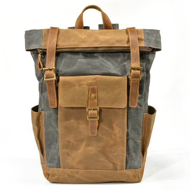 top goldman Volterra Canvas Waterproof Travel Backpack Dark Grey