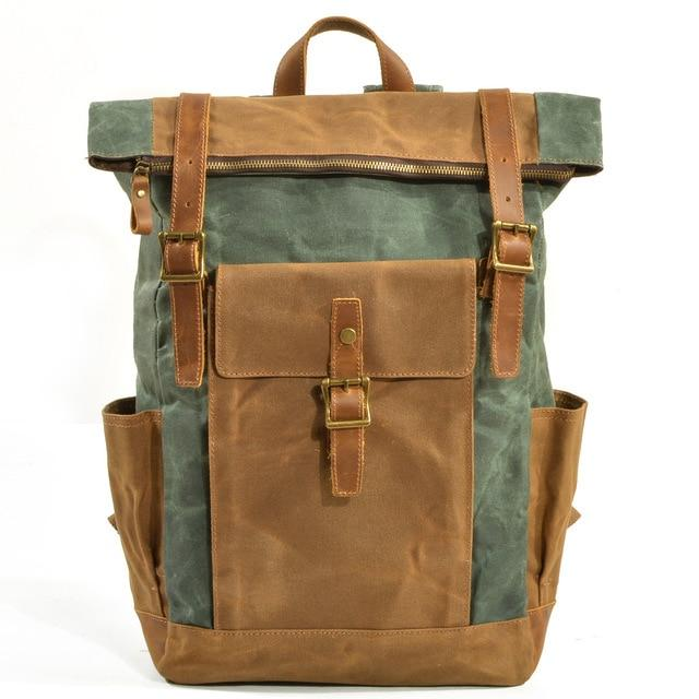 top goldman Volterra Canvas Waterproof Travel Backpack light green