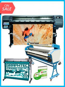 "COMPLETE SOLUTION - Plotter HP Latex 335 64"" - Recertified - (90 Days Warranty) + GRAPHTEC CUTTER CE6000-120 48"" Cutter - New + Upgraded Ving 63"" Full-auto Low Temp. Wide Format Cold Laminator, with Heat Assisted + Includes Flexi RIP Software"