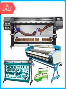"COMPLETE SOLUTION - Plotter HP Latex 370 64"" - Recertified - (90 Days Warranty) + GRAPHTEC CUTTER CE6000-120 48"" Cutter - New + Upgraded Ving 63"" Full-auto Low Temp. Wide Format Cold Laminator, with Heat Assisted + Includes Flexi RIP Software"
