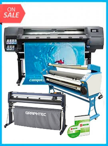 "COMPLETE SOLUTION - Plotter HP Latex 315 New + GRAPHTEC CUTTER FC9000-130 54"" (137.2 cm) Wide Cutter - New + 55"" Full-auto Low Temp. Wide Format Cold Laminator, with Heat Assisted + Includes Flexi RIP Software"