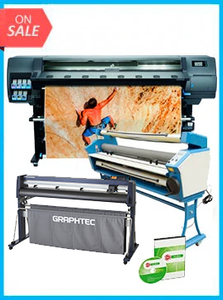 "COMPLETE SOLUTION - Plotter HP Latex 335 New + GRAPHTEC CUTTER FC9000-160 64"" (162.6 cm) Wide Cutter - New + Upgraded Ving 63"" Full-auto Low Temp. Wide Format Cold Laminator, with Heat Assisted + Includes Flexi RIP Software"