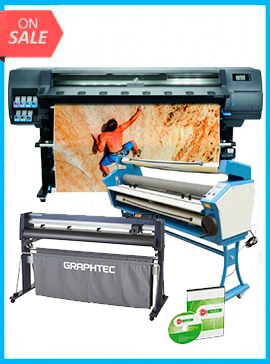 COMPLETE SOLUTION - Plotter HP Latex 335 New + GRAPHTEC CUTTER FC9000-160 64