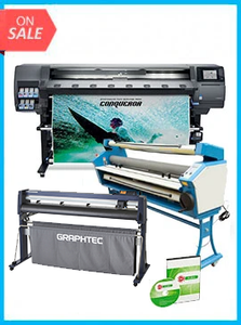 "COMPLETE SOLUTION - Plotter HP Latex 365 New + GRAPHTEC CUTTER FC9000-160 64"" (162.6 cm) Wide Cutter - New + Upgraded Ving 63"" Full-auto Low Temp. Wide Format Cold Laminator, with Heat Assisted + Includes Flexi RIP Software"