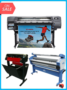 "HP Latex 115 - NEW + 55IN FULL-AUTO WIDE FORMAT COLD LAMINATOR, WITH HEAT ASSISTED + 53"" 3 ARMS CONTOUR CUT VINYL CUTTER W/ VINYLMASTER CUT SOFTWARE"