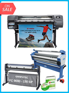 "HP Latex 115 - NEW + GRAPHTEC FC9000-140 54"" (137.2 CM) WIDE CUTTER - NEW + 55IN FULL-AUTO WIDE FORMAT COLD LAMINATOR, WITH HEAT ASSISTED + FLEXI RIP SOFTWARE"