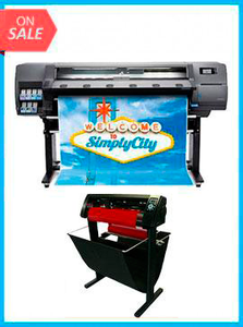"HP Latex 110 Printer - Recertified (90 Days Warranty) + 53"" 3 ARMS CONTOUR CUT VINYL CUTTER W/ VINYLMASTER CUT SOFTWARE"