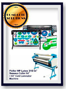 "COMPLETE SOLUTION - HP Latex 335 64"" Print + SUMMA Cutter 64"" Solution + 63"" Cold Laminator Machine"