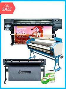 "COMPLETE SOLUTION - Plotter HP Latex 330 - Recertified (90 Days Warranty) + SummaCut D160 64 in (160 cm) vinyl and contour cutting – New + Upgraded Ving 63"" Full-auto Low Temp. Wide Format Cold Laminator, with Heat Assisted + Includes Flexi RIP Software"
