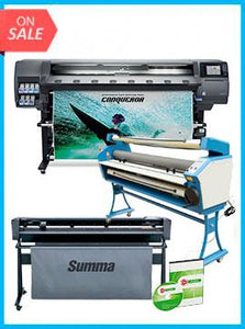 "COMPLETE SOLUTION - Plotter HP Latex 365 New + SummaCut D160 64 in (160 cm) vinyl and contour cutting – New + Upgraded Ving 63"" Full-auto Low Temp. Wide Format Cold Laminator, with Heat Assisted + Includes Flexi RIP Software"