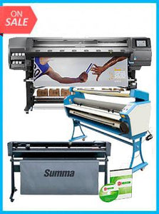 "COMPLETE SOLUTION - Plotter HP Latex 370 - Recertified (90 Days Warranty) + SummaCut D160 64 in (160 cm) vinyl and contour cutting – New + Upgraded Ving 63"" Full-auto Low Temp. Wide Format Cold Laminator, with Heat Assisted + Includes Flexi RIP Software"