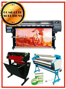 "COMPLETE SOLUTION - Plotter HP Latex 330 - Refurbished - (1 Year Warranty) + 55"" Full-Auto Low Temp. Cold Laminator, With Heat Assisted - New + 53"" 3 ARMS Contour Cut Vinyl Cutter w/ VinylMaster Cut Software - New -  Includes Flexi RIP Software"