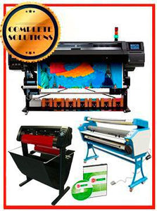 "COMPLETE SOLUTION - Plotter HP Latex 570 - NEW + 55"" Full-Auto Low Temp. Cold Laminator, With Heat Assisted - New + 53"" 3 ARMS Contour Cut Vinyl Cutter w/ VinylMaster Cut Software - New -  Includes Flexi RIP Software"