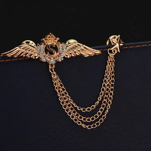 Golden Wings Chain Brooch Lapel Pin For Men