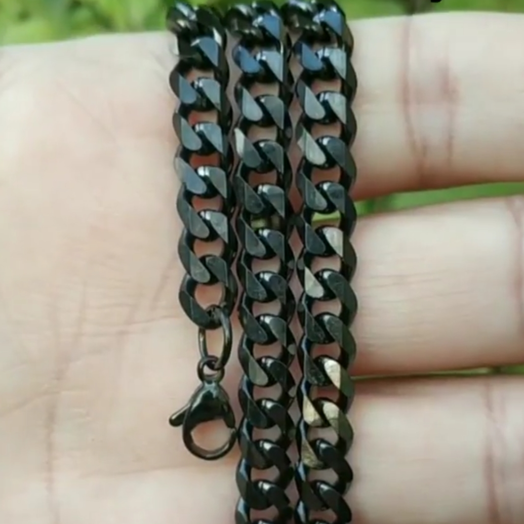 4mm 7mm 9mm Stainless Steel Black Neck Chain For Men In Pakistan