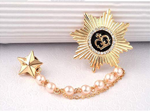 Star Chain Brooch Golden