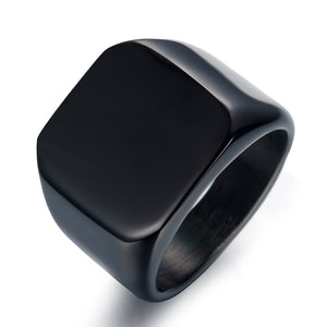 Black Titanium Signet Ring Men Pakistan