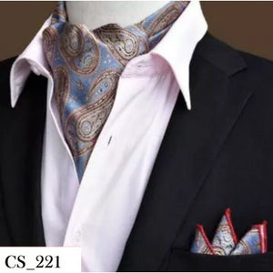 Golden Grey Paisley Floral Cravat Tie Men Neck Scarf In Pakistan