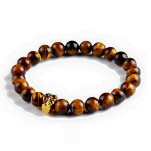 Tiger Eye Golden Skull Bracelet