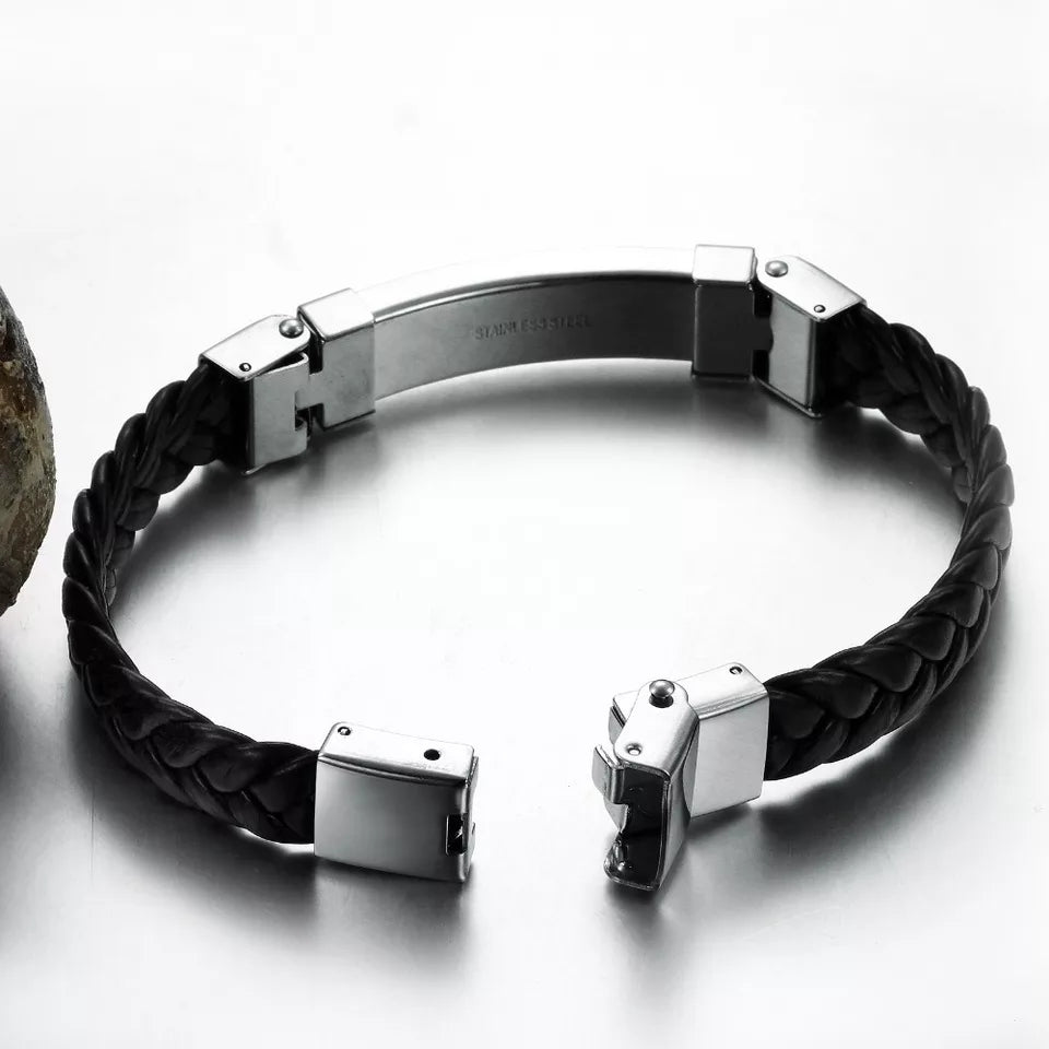 Black Braided Rapper Leather Bracelet