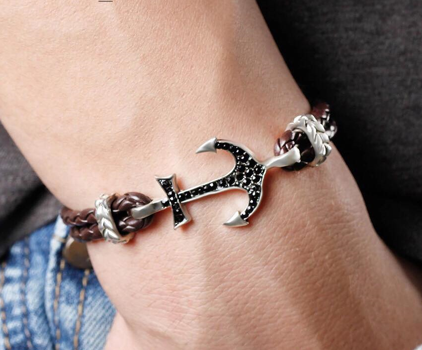 PU Leather Anchor Bracelet (Brown)