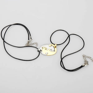 BFF Hug Pendant (Golden & White)