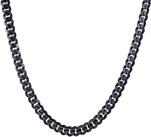 7mm Black Cuban Neck Chain For Men