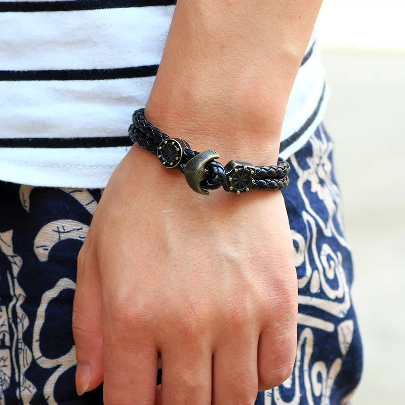 Black Anchor Pu Leather Bracelet