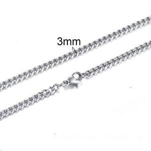 3mm Curb Neck Chain For Men Silver